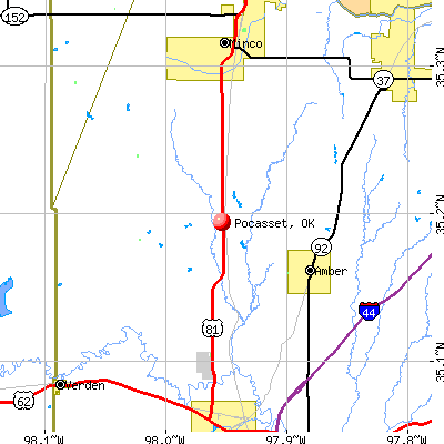 Pocasset, OK map
