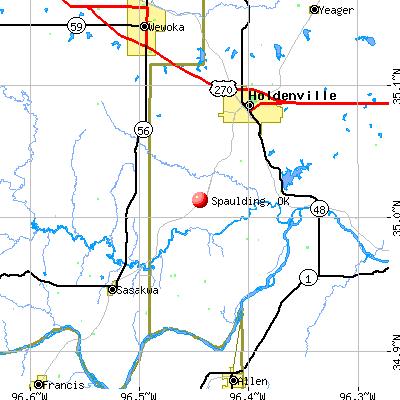 Spaulding, OK map