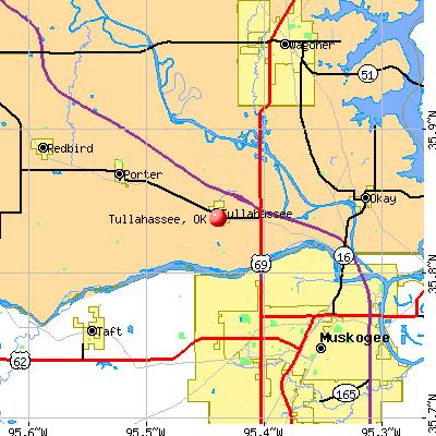 Tullahassee, OK map