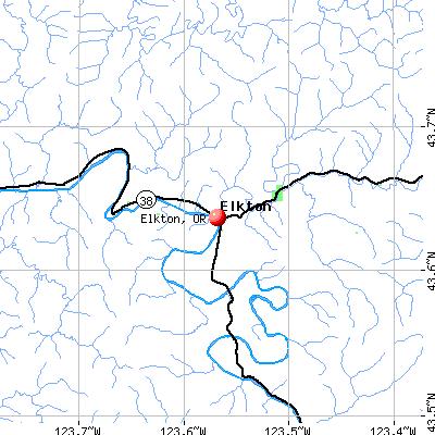 Elkton, OR map