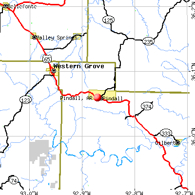 Pindall, AR map