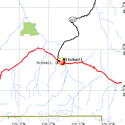 Mitchell, OR map