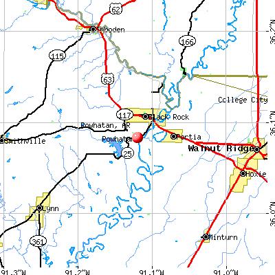 Powhatan, AR map