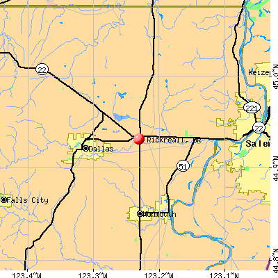 Rickreall, OR map