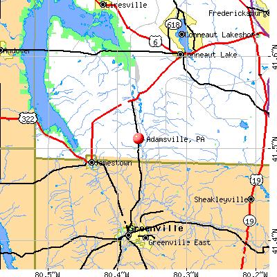 Adamsville, PA map