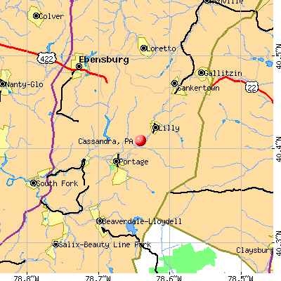 Cassandra, PA map