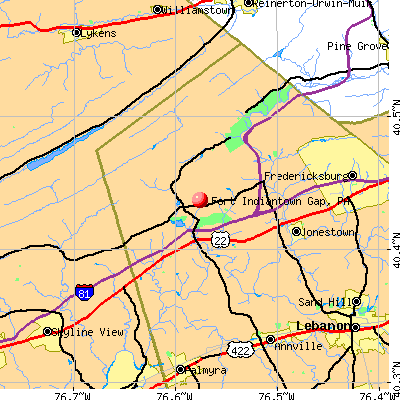 Fort Indiantown Gap, PA map