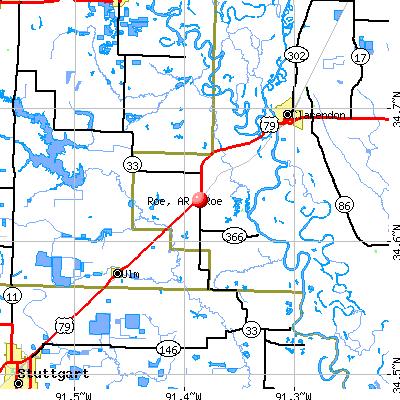 Roe, AR map