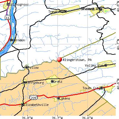 Klingerstown, PA map