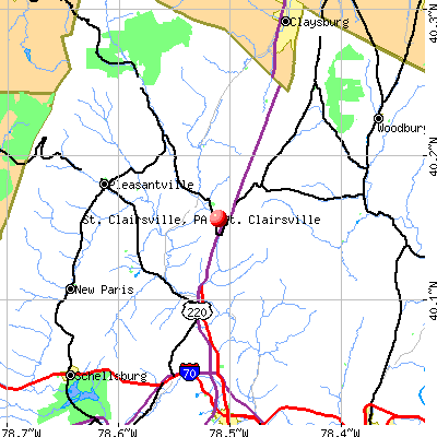 St. Clairsville, PA map