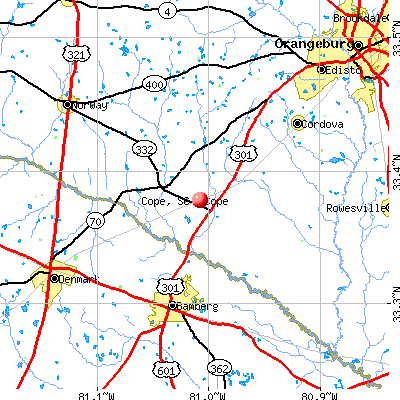 Cope, SC map
