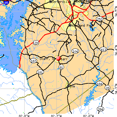 Starr, SC map