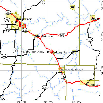 Valley Springs, AR map