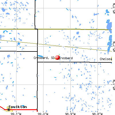 Cresbard, SD map