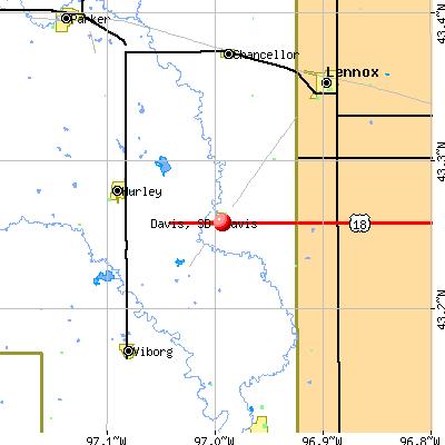 Davis, SD map