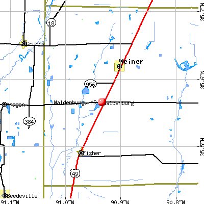 Waldenburg, AR map