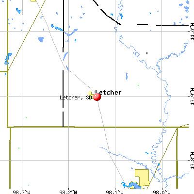 Letcher, SD map