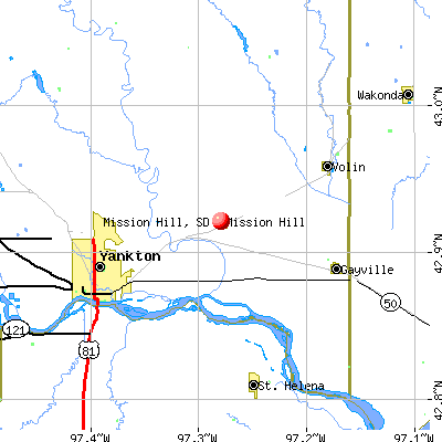 Mission Hill, SD map