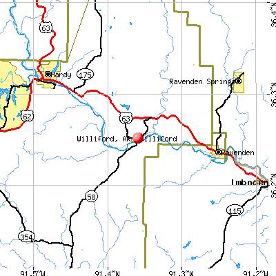 Williford, AR map