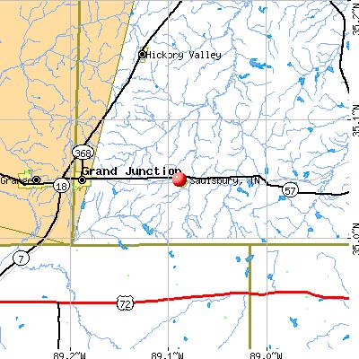 Saulsbury, TN map