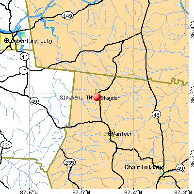 Slayden, TN map