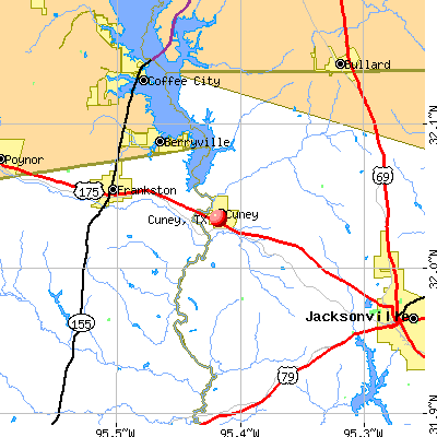 Cuney, TX map
