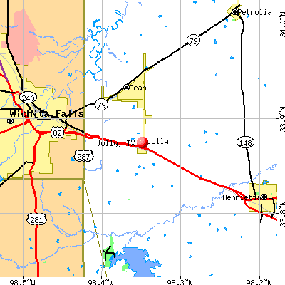 Jolly, TX map