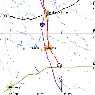 Leona, TX map