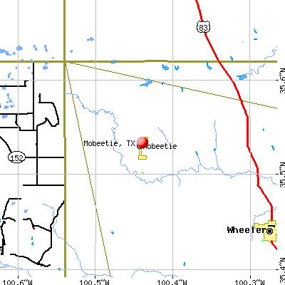 Mobeetie, TX map