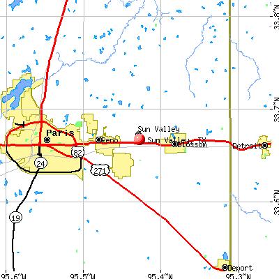 Sun Valley, TX map