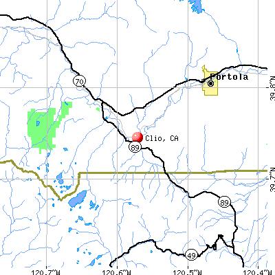 Clio, CA map