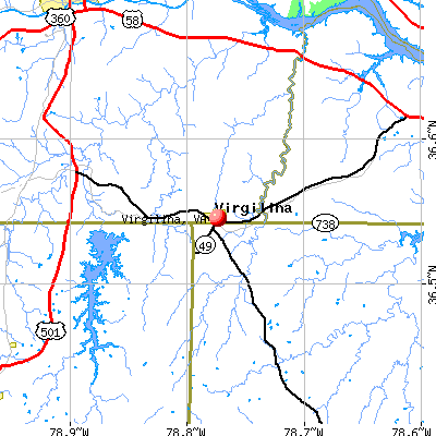 Virgilina, VA map