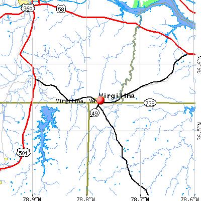 Virgilina, VA map