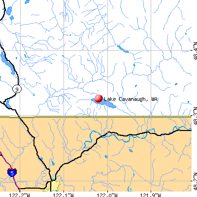 Lake Cavanaugh, WA map