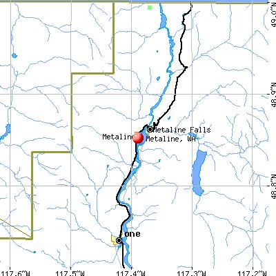 Metaline, WA map