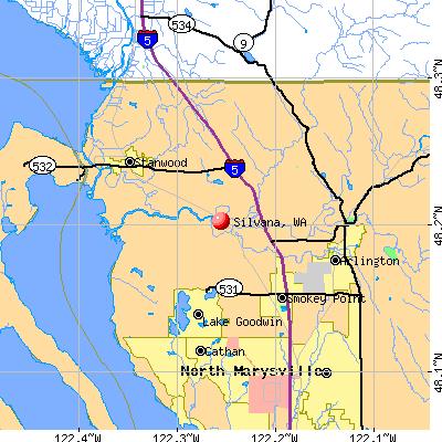 Silvana, WA map