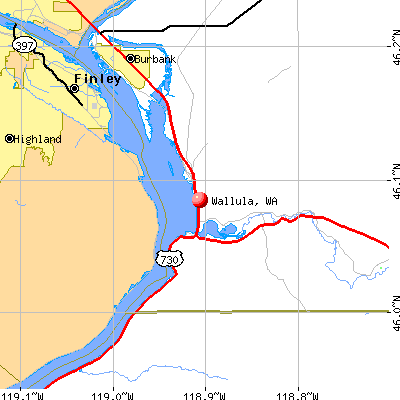 Wallula, WA map