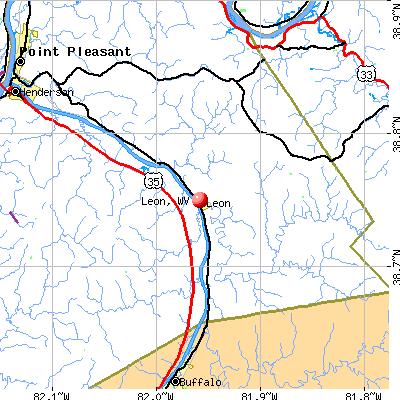 Leon, WV map