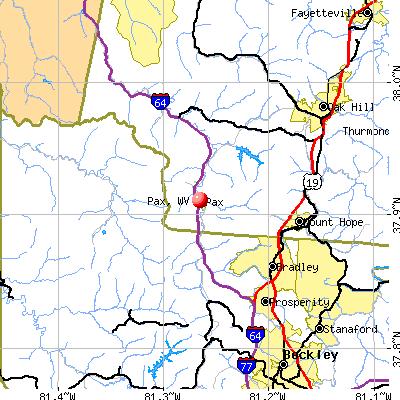 Pax, WV map