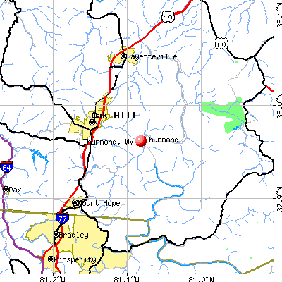 Thurmond, WV map