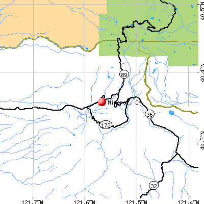 Mineral, CA map