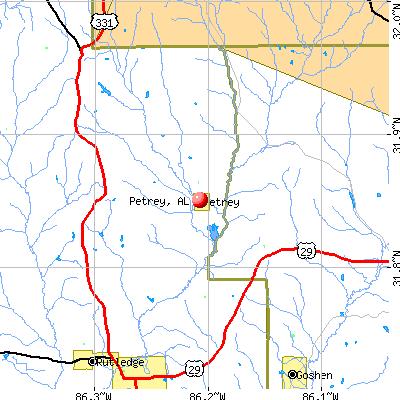 Petrey, AL map