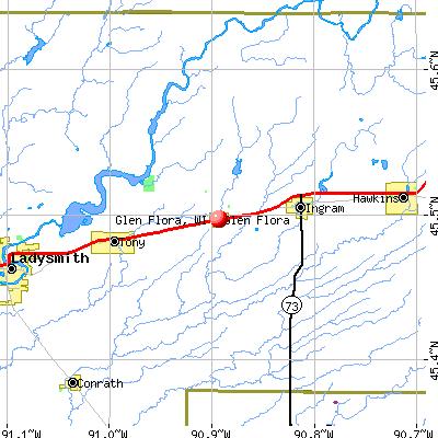 Glen Flora, WI map