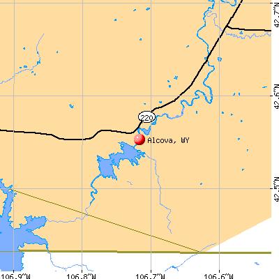 Alcova, WY map