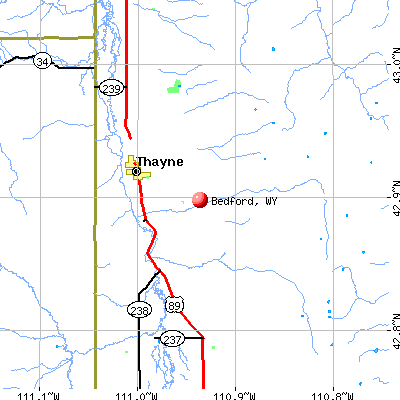 Bedford, WY map