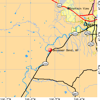 Bessemer Bend, WY map
