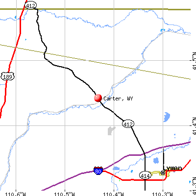Carter, WY map