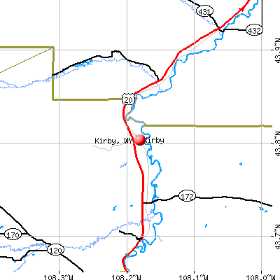 Kirby, WY map