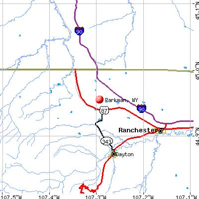 Parkman, WY map