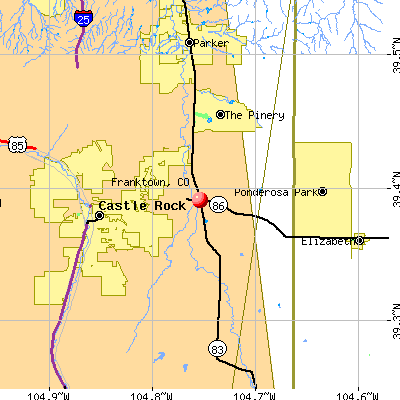 Franktown, CO map